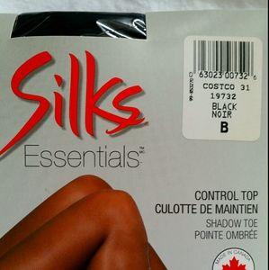 4/$20 NWT Silks Essentials Black Nylon Hosiery